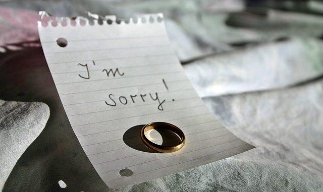 Sorry auf Notizzettel